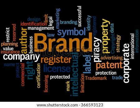 Brand, word cloud concept on black background. - stock photo