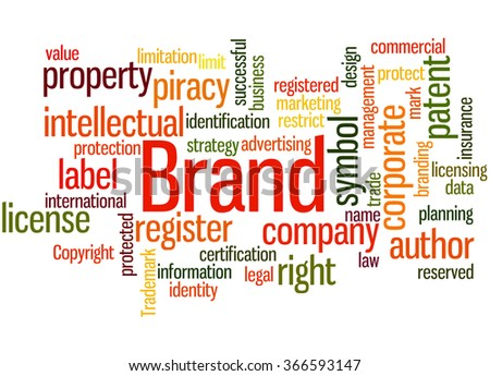 Brand, word cloud concept on white background. - stock photo