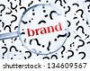 Brand word found in many question marks - stock photo