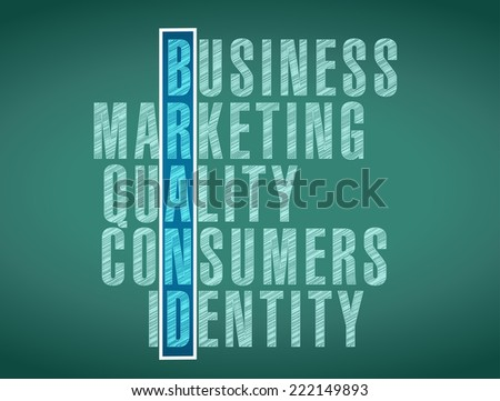 brand word selection illustration design over a board background - stock photo