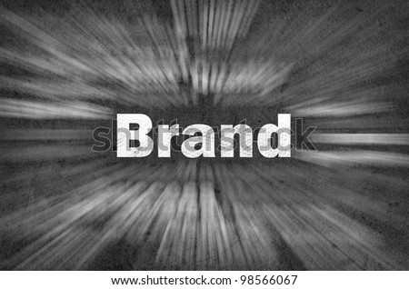 Brand word with motion rays  on retro background - stock photo