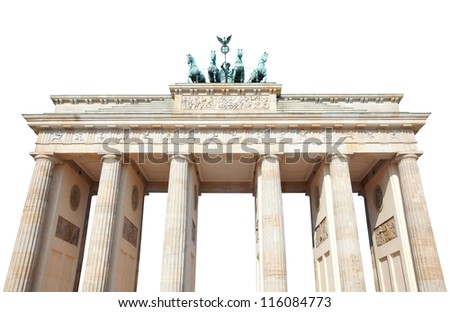 Brandeburg gate, isolated with clipping path, Berlin - stock photo