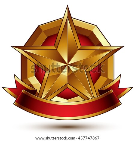Branded golden symbol with stylized pentagonal glossy star and red decorative curvy ribbon, best for use in web and graphic design. - stock photo