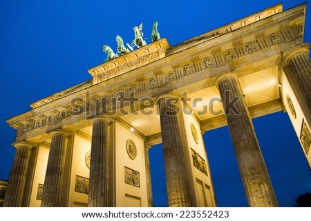 Brandenburg Gate at night , Berlin - stock photo
