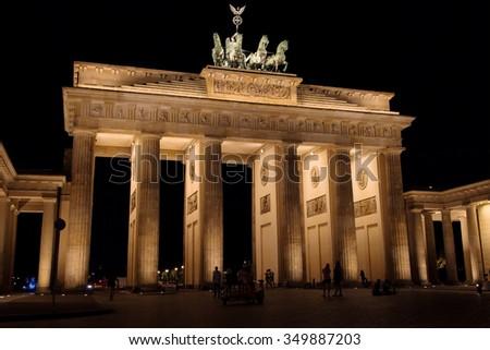 Brandenburg Gate at night, Berlin, Germany. - stock photo