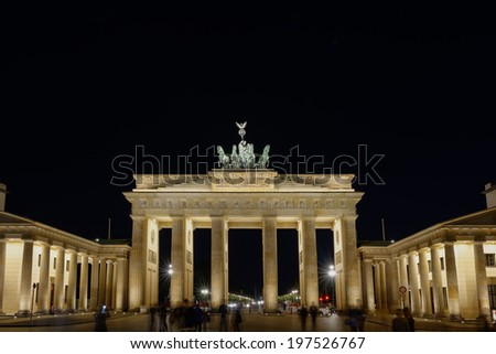 Brandenburg Gate at night in Berlin, Germany - stock photo
