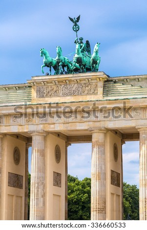 BRANDENBURG GATE, Berlin, Germany in summer day. - stock photo