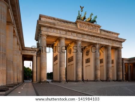 Brandenburg Gate (Brandenburger Tor) in Berlin, Germany at dawn - stock photo