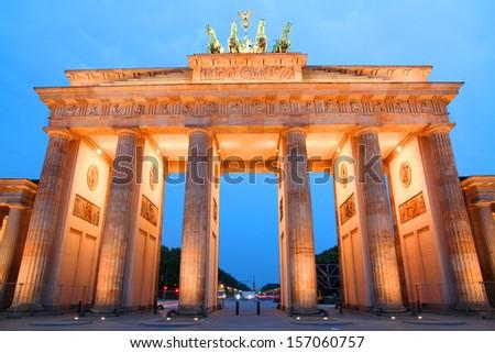 Brandenburg gate ( Brandenburgertor) at sunset, Berlin - stock photo