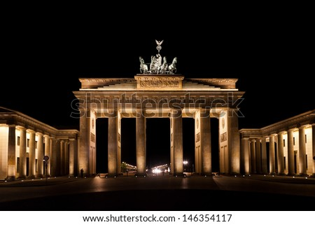 Brandenburg Gate by night in berlin germany - stock photo