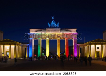 Brandenburg Gate colorful illuminated - stock photo