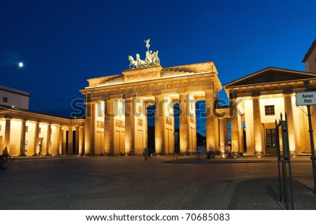 Brandenburg Gate in Berlin at night. Germany. - stock photo