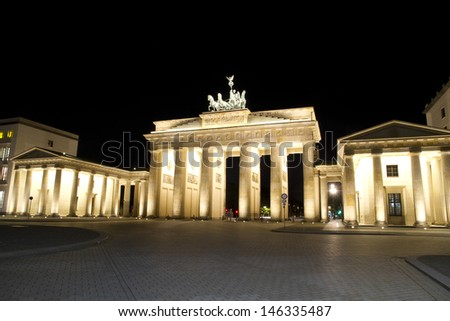 Brandenburger Tor at Berlin, capital from Germany. Night shot from the East Side, Pariser Platz - stock photo