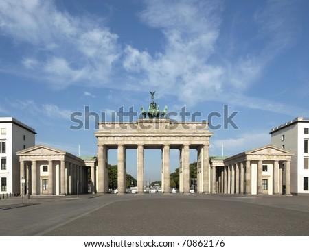 Brandenburger Tor (Brandenburg Gate), famous landmark in Berlin, Germany - rectilinear frontal view - stock photo