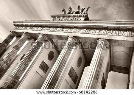 Brandenburger Tor (Brandenburg Gate), famous landmark in Berlin, Germany - sepia - stock photo