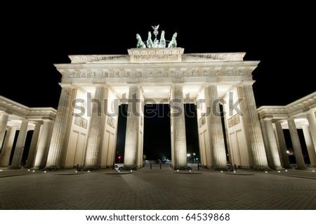 Brandenburger Tor in Berlin, Germany by night. - stock photo
