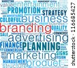 Branding info-text graphics and arrangement concept (word cloud) in white background - stock photo