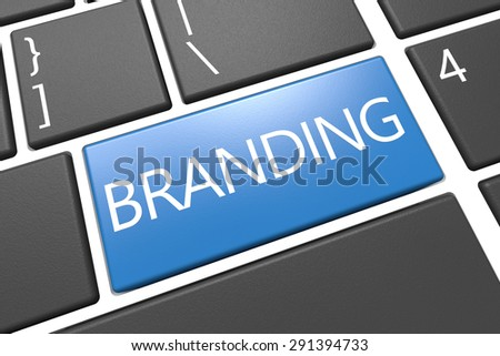 Branding - keyboard 3d render illustration with word on blue key - stock photo