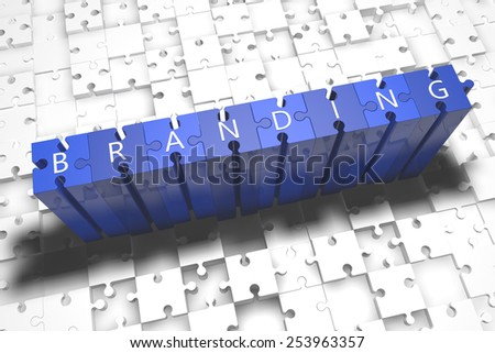 Branding - puzzle 3d render illustration with block letters on blue jigsaw pieces  - stock photo
