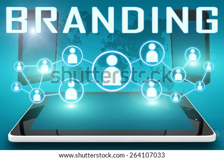 Branding - text illustration with social icons and tablet computer and mobile cellphones on cyan digital world map background - stock photo