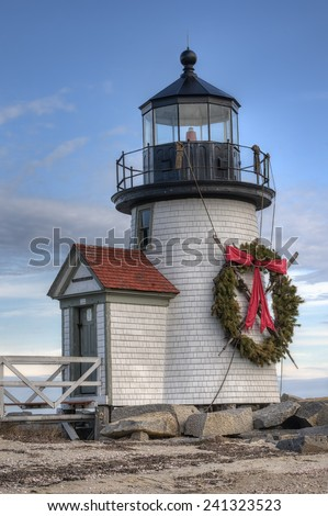 Brandt Point Lighthouse in Nantucket, Massachusetts with Christmas Wreath - stock photo