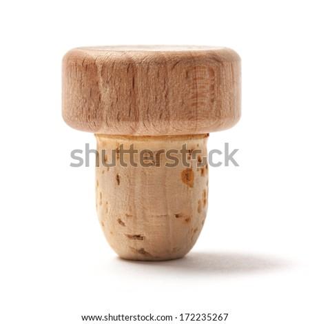 Brandy bottle cork isolated on white background - stock photo