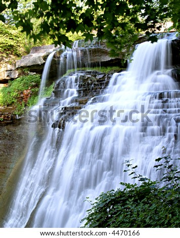 Brandywine Falls in Ohio in the late afternoon on a summer day - stock photo