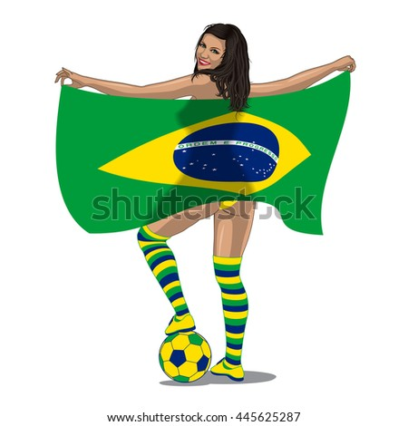 Brasil Football Fan. sexy brasilian woman looks back and put her leg on soccer ball and smiles.  - stock photo