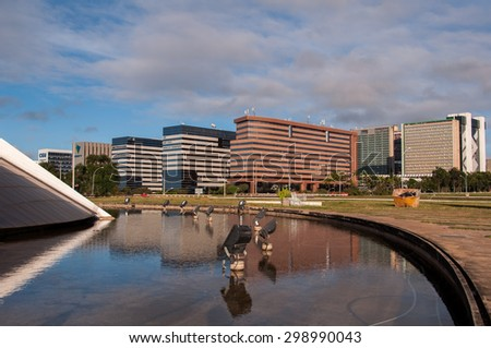 BRASILIA, BRAZIL - JUNE 6, 2015: Ministry and finance buildings. Brasilia is an example of modern urban planning by Oscar Niemeyer and Lucio Costa. - stock photo