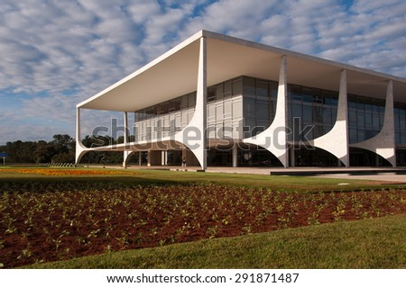 BRASILIA, BRAZIL - JUNE 3, 2015: Planalto Palace, a residence of the president of Brazil. It was designed by Oscar Niemeyer and completed in 1960. - stock photo