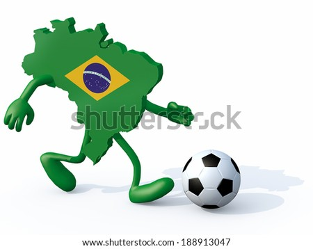 brasilian map with arms, legs running with a football, 3d illustration - stock photo