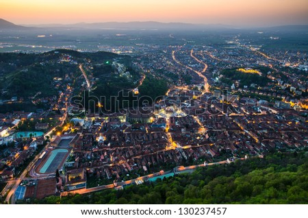 """Brasov is a city in Southern Carpathian mountains, known for hosting """"Golden Stage"""" music festival. Main touristic place from Romania. - stock photo"""