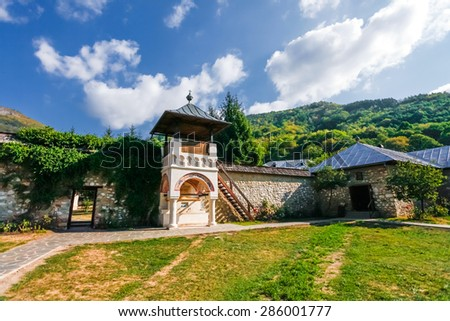 Brasov, Romania - Septemper 9, 2012: Old orthodox monastery from Polovragi, Romania - stock photo
