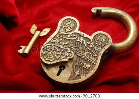 brass antique lock - stock photo