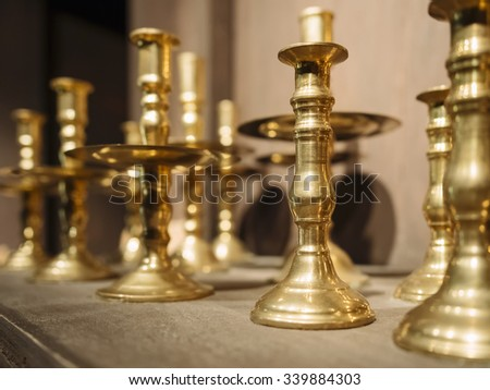 Brass Candle holders Vintage decoration object - stock photo