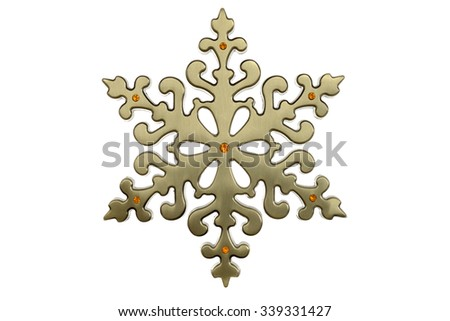 brass christmas snowflake - stock photo