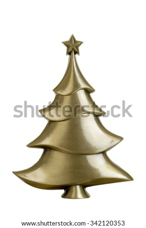 brass christmas tree - stock photo