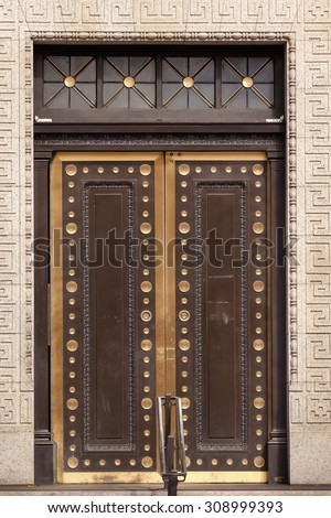 Brass Door US Treasury Department Washington DC. US Treasury is in charge of financial, monetary issues in the United States. - stock photo