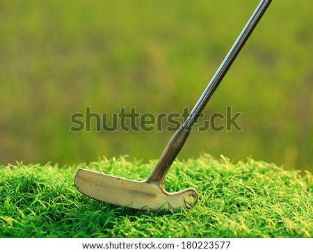 Brass Golf Putter - stock photo