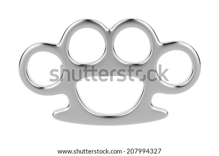 Brass knuckles isolated on white background  - stock photo