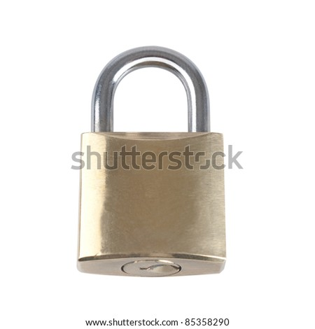 Brass Lock isolated on white background - stock photo