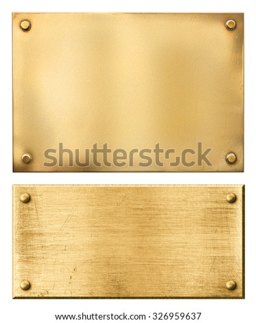 Brass or gold metal plates isolated - stock photo