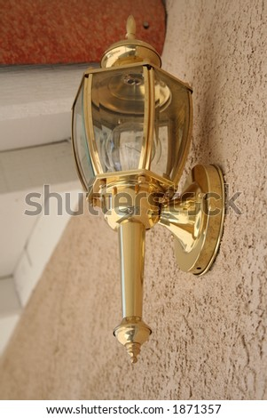 brass outside lantern - stock photo