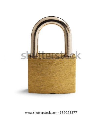 Brass Padlock Closed with Copy Space Isolated on White Background. - stock photo