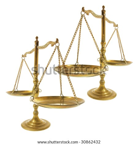 Brass Scales on Isolated White Background - stock photo
