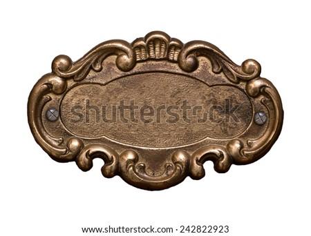 brass shield against white - stock photo