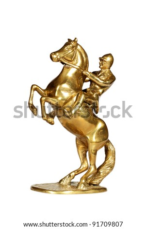 Brass statue of the jockey on a horse isolated over white with clipping path. - stock photo