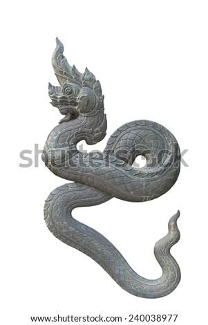 Brass Thai dragon statue isolate on the white background - stock photo