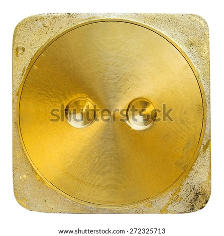 Brass toilet lid on white background - stock photo