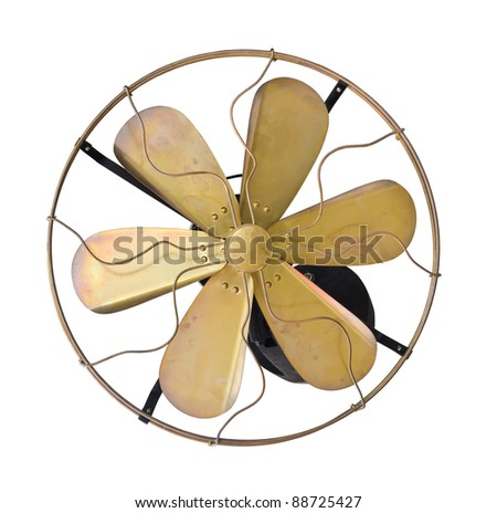 Brass vintage  wall electric fan on white background. - stock photo